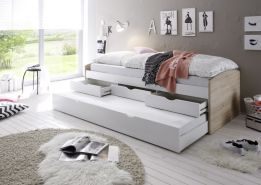 Bega 'Clara' Funktionsbett 90 x 200 cm, braun weiß, inkl. ausziehbarer Gästeliege, 3 Schubladen