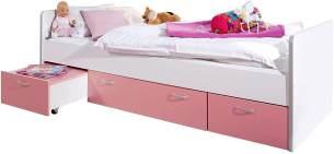 Stauraumbett Bonny Weiß/Pink 90x200