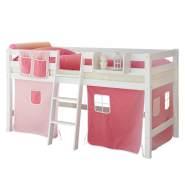 Ticaa 'Tipsi' Halbhochbett weiß, inkl. Vorhang rosa/pink