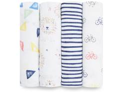 Aden + Anais 'Classic Swaddle' Wickeltücher 4-er Pack, weiß, Leader of the Pack