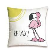 Nici 41943 Flamingo Baumwollkissen Relax, 37 x 37 cm
