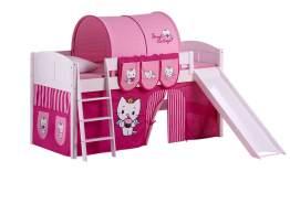 Spielbett 'LANDI/R' weiß inkl. Vorhang 'Angel Cat'
