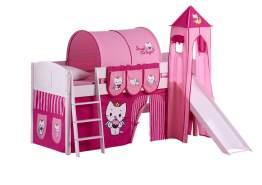 Spielbett 'Landi' weiß inkl. Turm und Vorhang 'Angel Cat'