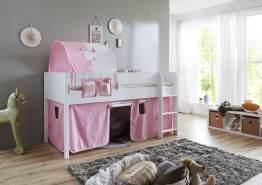 Relita 'Luka' Halbhohes Bett 90x200 MDF/Buche weiß lackiert, mit Vorhang, 1-er Tunnel und Tasche rosa/weiß/Herz