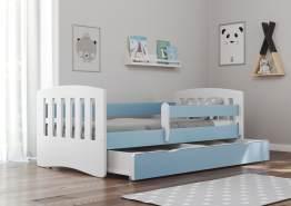 Bjird 'Classic' Kinderbett 80 x 160 cm, Blau, inkl. Rausfallschutz, Lattenrost und Bettschublade