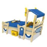 Wickey 'Crazy Sparky Pro' Einzelbett natur, Plane blau, 90x200cm