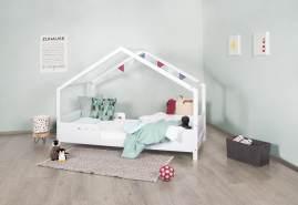 Bellabino 'Vila' Hausbett 90x200 cm, weiß lackiert, Kiefer massiv, inkl. Rolllattenrost und 4-tlg. Rausfallschutz
