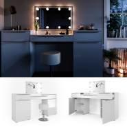 Vicco 'Lilli' Schminktisch, Weiß, inkl. Hocker und LED-Lichterkette, mit Spiegel