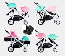 BabyFiveStar Geschwisterwagen Türkis / Pink mit Babyschale Schwarz