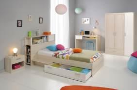 PARISOT 'Tesso' 5-tlg. Kinderzimmer-Set, akazie/weiß, aus Bett 90x200 cm inkl. Bettschublade, Nachttisch, 3-trg. Kleiderschrank, Schreibtisch und Anstellregal