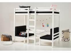HOPPEKIDS Basic Etagenbett Jumbo in Weiß mitTisch gerader Leiter und Rollrost 90x200 cm 36-1040-82-09A
