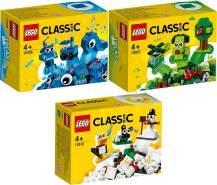 LEGO Classic 11006 'Blaues Kreativ-Set' + 11007 'Grünes Kreativ-Set' + 11012 'Kreativ-Bauset mit weißen Steinen', 172 Teile, ab 4 Jahren