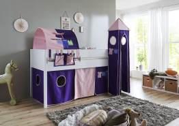Relita 'Luka' Halbhochbett 90x200 MDF/Buche weiß lackiert, mit Vorhang, 1-er Tunnel, Tasche und Turm rosa/violett-Kleider