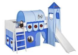 Spielbett 'LANDI/S' weiß inkl. Vorhang 'Dragons Blau'