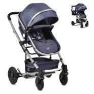 Moni Kinderwagen Gigi Schaukelfunktion Babywanne Sportsitz Wickeltasche faltbar blau