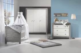 Schardt 'Nordic Driftwood' 3-tlg. Babyzimmer-Set grau, inkl. Kinderbett, Schrank 3-türig und Wickelkommode
