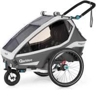 Qeridoo 'Kidgoo2' Fahrradanhänger 2020, grau, 2-Sitzer inkl. Kupplung und Buggyrad