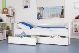 Kinderbett/JugendbettEasy Premium Line K1/n/s inkl 2 Schubladen und 2 Abdeckblenden, 90 x 200 cm Buche Vollholz massiv weiß lackiert