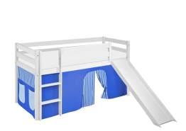 Lilokids 'Jelle' Spielbett 90 x 200 cm, Blau, Kiefer massiv, mit Rutsche und Vorhang