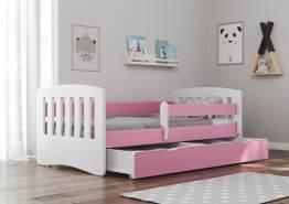Bjird 'Classic' Kinderbett 80 x 140 cm, Rosa, inkl. Rausfallschutz, Lattenrost und Bettschublade