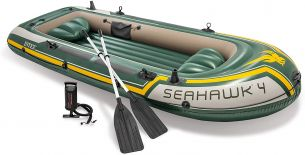 Intex 68351 'Schlauchboot Set Seahawk 4' Schlauchboote, tragfähig bis 4 Personen, max. belastbar bis 400 kg, grün/gelb