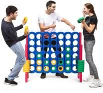 COSTWAY Vier-Gewinnt Spiel, 4 Gewinnt Spielbrettsaetze, Vier in Einer Reihe Spiel mit 42 Jumbo Ringen und Schieberegler zum schnellen Neustart für Kinder und Erwachsene Rot