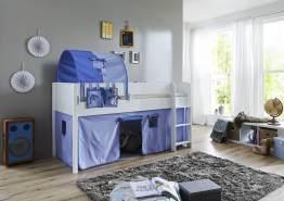 Relita 'Luka' Halbhochbett 90x200 MDF/Buche weiß lackiert, mit Vorhang, 1-er Tunnel und Tasche blau/Delfin