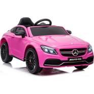 Kidcars Kinder Elektro Auto Mercedes C63 AMG 2x 25W 12V 7Ah 2. 4G RC LED Pink