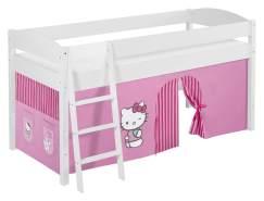 Lilokids 'Ida 4105' Spielbett 90 x 200 cm, Hello Kitty Rosa, Kiefer massiv, mit Vorhang