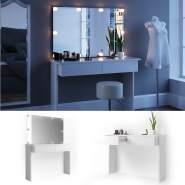 Vicco 'Azur' Schminktisch, Weiß Hochglanz, inkl. Spiegel und LED-Lichterkette