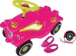 BIG 800056103 'Bobby-Car Flower Power mit Schuhschoner und Flüsterreifen' Set, ab 12 Monaten, bis 50 kg belastbar, pink