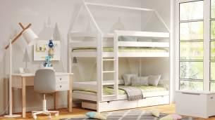 Kinderbettenwelt 'Home' Etagenbett 90x200 cm, vanille, Kiefer massiv, mit Lattenrosten und zwei Schubladen