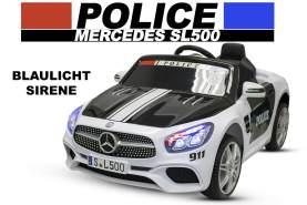 Lizenz Kinder Elektro Auto Mercedes-Benz SL500 Polizei 2x35W Bluetooth Weiss
