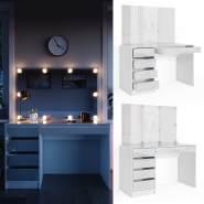 Vicco 'Sherry' Schminktisch, weiß, inkl. LED-Beleuchtung, mit Spiegel und 5 Schubladen