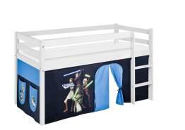 Lilokids 'Jelle' Spielbett 90 x 200 cm, Star Wars the Clone Wars, Kiefer massiv, mit Vorhang