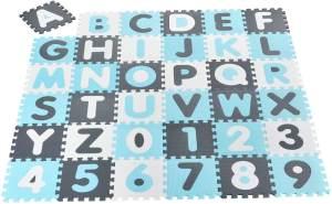 Juskys 'Noah' Puzzlematte, 36 Teile mit Buchstaben A-Z & Zahlen 0-9 - rutschfest, blau