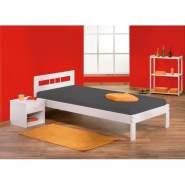 Inter Link Bett Bed Kinderbett Jugendbett Gästebett Einzelbett modernes Bett Bio Kiefer massivholz Weiss lackiert
