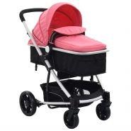 vidaXL 2-in-1 Buggy/Kinderwagen Rosa und Schwarz Aluminium