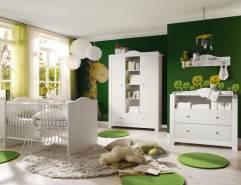 Storado 5-tlg. Babyzimmer-Set Paris weiß matt/helle Griffe inkl. Kinderbett, Wickelkommode, Kleiderschrank, Hängeregal und Lattenrost
