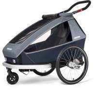 Croozer 'Kid Vaaya 1' Fahrradanhänger 2020, Graphite Blue, 1-Sitzer, inkl. Fahrrad-Set, Buggyrad, Wetterverdeck, Kopfpolster, integriertes Sensor-Licht