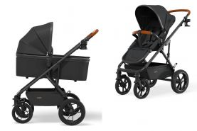 Moon 'Nuova' Kombikinderwagen 3 in 1 2021 Black inkl. Babywanne und Babyschale Cybex Aton 5 Soho Grey