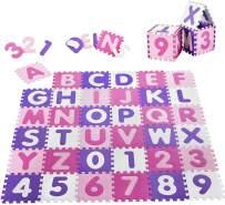 Juskys 'Juna' Puzzlematte, 36 Teile mit Buchstaben A-Z & Zahlen 0-9 - rutschfest, rosa