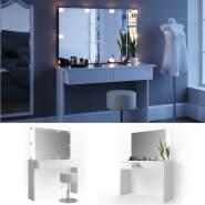 Vicco 'Azur' Schminktisch, Weiß Hochglanz, inkl. Hocker, Spiegel und LED-Lichterkette