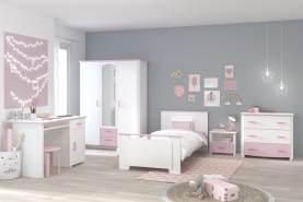 Parisot 'Sweetie' 5-tlg. Kinderzimmer-Set, weiß/rosa, aus Bett 90x200 cm, Kleiderschrank, Schreibtisch, Kommode und Nachtkonsole