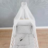 Puckdaddy Bett-Set 'Svea', weiß, Streifen, Chevron, 135x100 cm