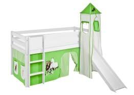 Lilokids 'Jelle' Spielbett 90 x 190 cm, Pferde Grün Beige, Kiefer massiv, mit Turm, Rutsche und Vorhang