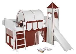 Spielbett 'Landi' inkl. Turm und Vorhang braun/beige