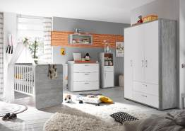 Storado 'Frieda Set 3' 5-tlg. Babyzimmer-Set vintage wood grey/weiß matt lack