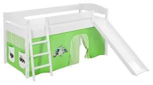 Lilokids 'Ida 4105' Spielbett 90 x 200 cm, Trecker Grün Beige, Kiefer massiv, mit Rutsche und Vorhang