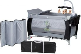 BabyGO 'Sleeper deluxe' Reisebett 60x120 cm, schwarz, mit Matratze, Wickelauflage, Mobile und Schlupf